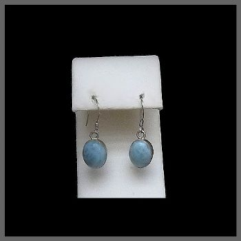 Oval Shaped Hook Larimar Earrings